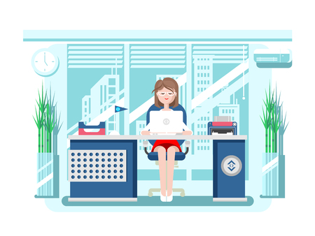 administrative: Secretary in office. Businesswoman person, worker woman, work and job, young female, flat illustration