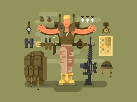 Soldier and ammunition design flat. Backpack military, weapon army, illustration