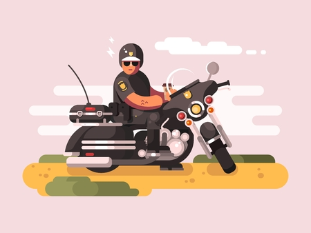 patrol: Police officer on motorcycle. Policeman biker, moto patrol, illustration