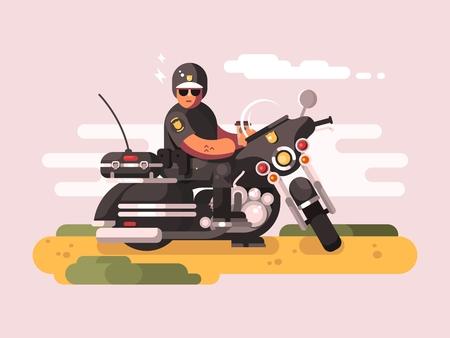 Ufficiale di polizia sul motociclo. motociclista Poliziotto, pattuglia moto, illustrazione