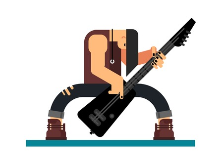 stage performance: Guitarist character, guitar and musician, musical instrument, sound and performance and stage, flat illustration Illustration