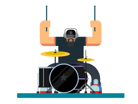 Drummer character, guitar and musician, musical instrument, sound and performance and stage, flat illustration Vettoriali