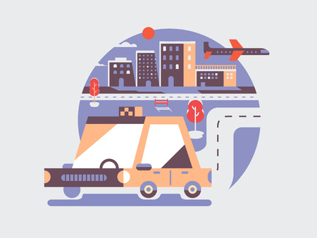 vehicle icon: Taxi car icon flat. Vehicle car transport and transportation automobile, illustration
