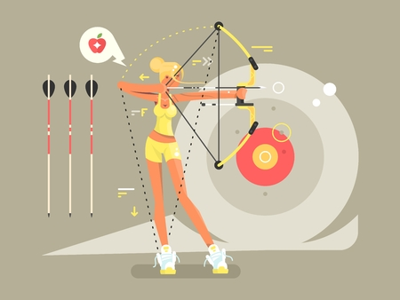 Female archer character. Woman archery with weapon, bullseye and aiming,  illustration Illustration