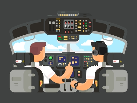 Pilots in cockpit flat design. Airplane captain, and command of plane. illustration Illustration