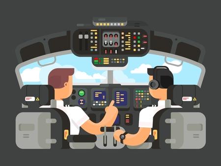 pilotos aviadores: Pilotos en diseño plano cabina. capitán del avión, y el mando del avión. ilustración