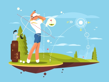 trajectory: Male golfer playing golf, calculates the impact and trajectory for exact hit. flat vector illustration.