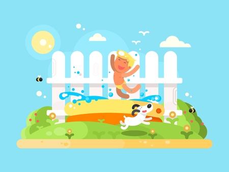 sumer: Little but in garden pool having fun. Sumer vication, running dog. Flat vector illustration Illustration