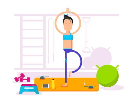 Girl doing yoga. Relaxation lifestyle, exercise healthy, beauty female body, flat vector illustration Illustration
