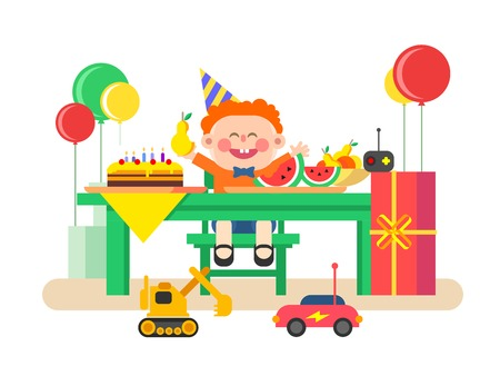 holiday food: Holiday child birthday. Happy kid and gift, celebration and event, air balloon and sweet food. Flat vector illustration Illustration