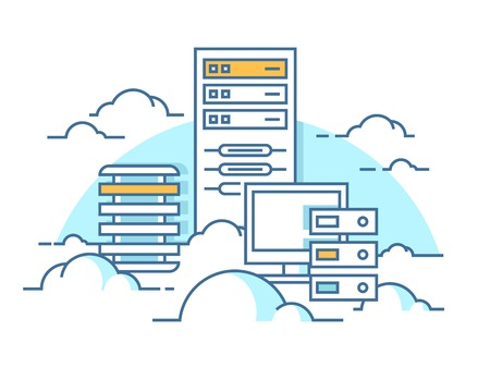 servicio en la nube. Internet y el ordenador, información de comunicación, servidor. ilustración vectorial plana
