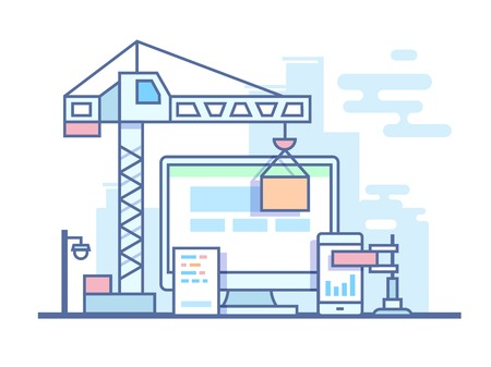 construct: Web site development. Project site construct, development and build, line vector illustration