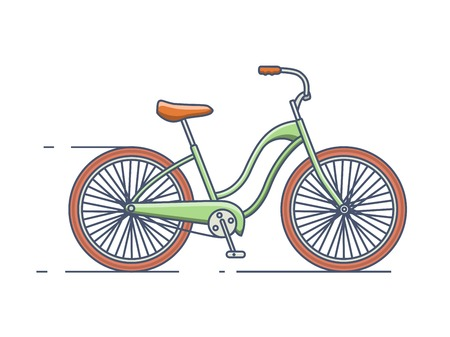 bicycling: Bicycle isolated line style. Bike transport, vehicle and travel, transportation activity, vector linear style