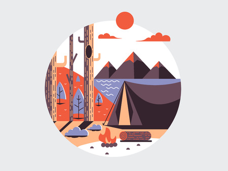 travel icon: Camping flat round icon. Design travel and vacation, tent for recreation, vector illustration