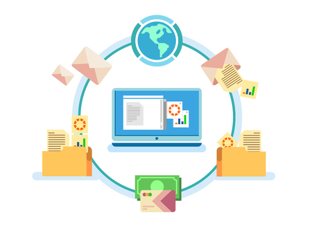 information systems: Electronic document management. Data digital file, system storage, computer archive, information database, order catalog, flat vector illustration