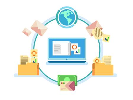 gestión de documentos electrónicos. archivo de datos digitales, sistema de almacenamiento, archivo de ordenador, base de datos de información, catálogo de venta, ilustración vectorial plana
