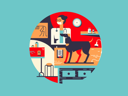 Vet clinic flat illustration. Animal dog and medical treatment vector