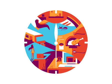 routine: Daily time cycle. Business day, routine wake up and office work. Vector illustration Illustration