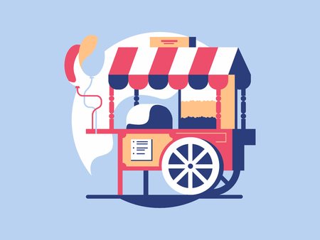 Trolley with popcorn. Market cart and kiosk store with snack, vector illustration Illustration