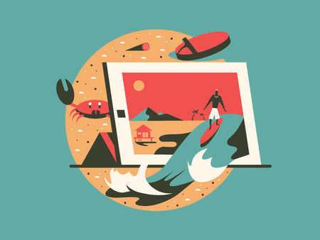 surfing beach: Freelance concept flat style. Work with computer on beach. Vector illustration