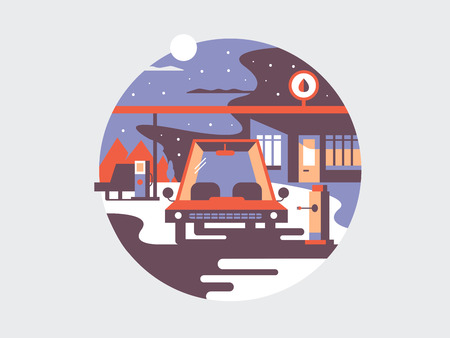 Automotive tankowania elektrycznego. Energii elektrycznej samochodu, innowacyjność technologii, ilustracji wektorowych Zdjęcie Seryjne - 60780788