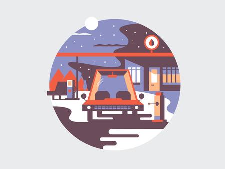 Elektrische tankvoertuigen. Elektrische auto kracht, innovatie technologie, vector illustratie Stock Illustratie
