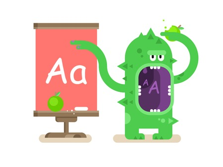 teaches: Cartoon monster teaches alphabet. School education, letter a, pupil and lesson, flat vector illustration Illustration