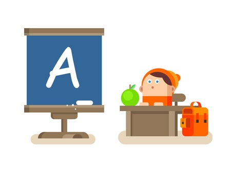 lesson: Boy sitting at a Desk. School education, letter a, pupil and lesson, flat vector illustration Illustration
