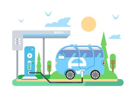 Elektrische auto opladen. Vervoer elektriciteit, energiecentrales, voertuigtechnologie, batterij en nut, plat vector illustratie Stock Illustratie