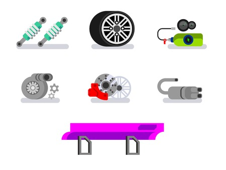 spoiler: Car parts. Automotive, motor and vehicle, flat vector icons