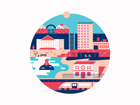 urban building: City with houses and a park. Town with building architecture, urban outdoor vector illustration