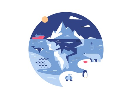 Iceberg in sea or ocean. Antarctic environment and ice mountain in water. Vector illustration Illustration