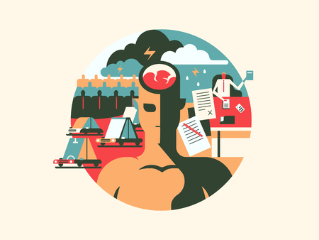 uncomfortable: Discomfort and stress. Person man with headache, problem brain, vector illustration Illustration