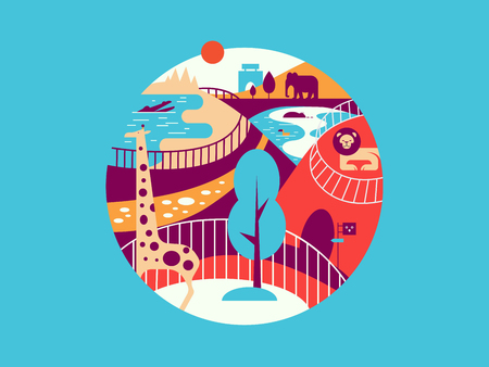 aviary: Zoo flat illustration. Wild animal giraffe and elephant in park vector