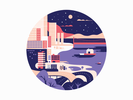urban building: Night megapolis flat design. City with building and urban street. Vector illustration Illustration