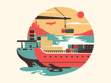 Maritime transport logistics. Container transportation and delivery, vector flat illustration