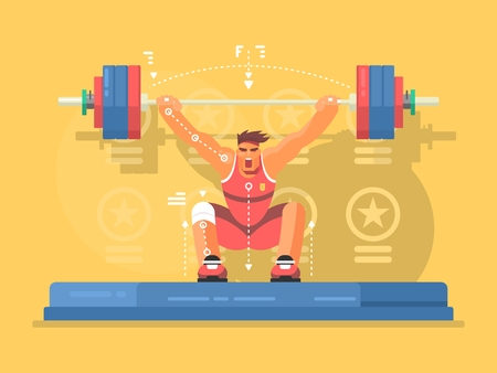 competitions: Weightlifting competitions flat design. Strong man in gym, lifting barbell. Vector illustration