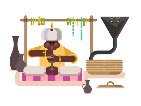play poison: Cobra dances under flute. Charmer music, traditional asia man, animal poisonous, flat vector illustration Illustration