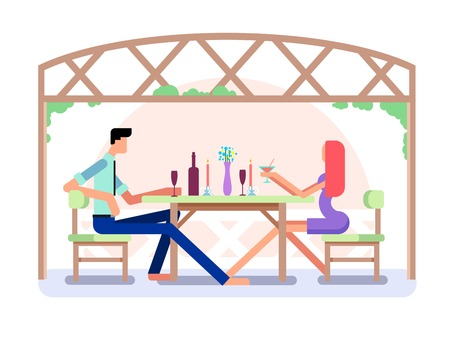 intimate: Romantic date design. Love couple, man and woman, relationship and moon, flat vector illustration
