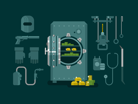 safe: Bank safe with tools for hacking. Money and wealth, protection safety, finance deposit, business security, flat vector illustration Illustration