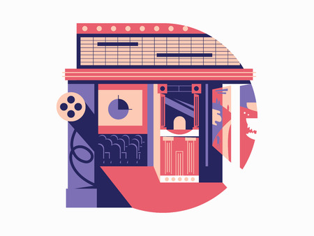 cinematography: Cinema hall flat concept. Cinematography and movie film, vector illustration Illustration