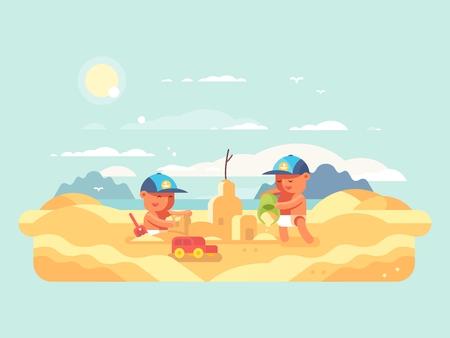 Sand castle on beach. Child building house. Vector flat illustration Illustration