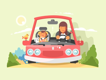 Safe driving in car. Transportation in automobile with buckled belt on child. Vector illustration