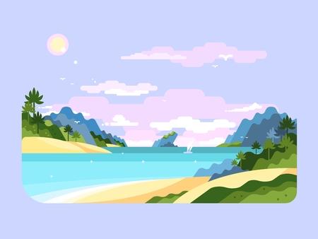 paradise beach: Beach flat design. Summer holiday, travel on tropical nature, vector illustration