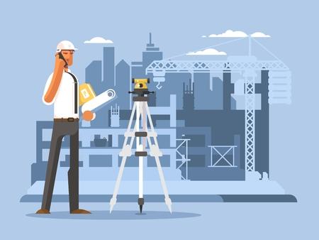 Foreman on construction flat design. Builder work on site, engineer or contractor, vector illustration