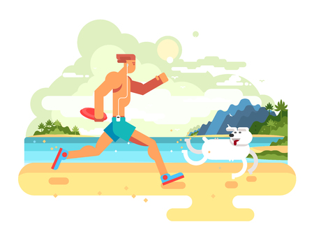jogging in nature: Morning jog on beach. Fitness lifestyle, healthy exercise, jogging run, athlete runner, flat vector illustration