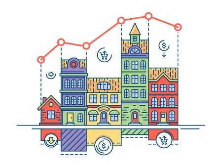 Real estate market. House sale and buy home, vector illustration
