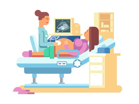 ultrasound: Ultrasound of a pregnant woman. Scan and hospital, belly healthy, flat vector illustration