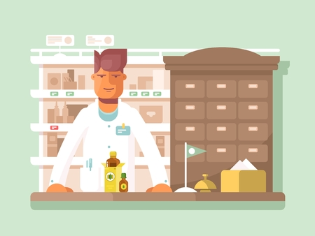 druggist: Pharmacist at the pharmacy. Drugstore shop, medication and assistance. Vector illustration