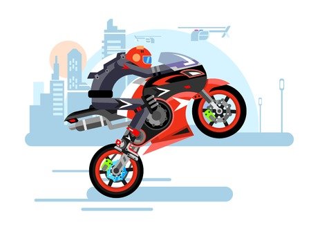 one wheel bike: High-speed motorcycle rides on one wheel. Person in helmet, bike and extreme, danger and risk, vector illustration